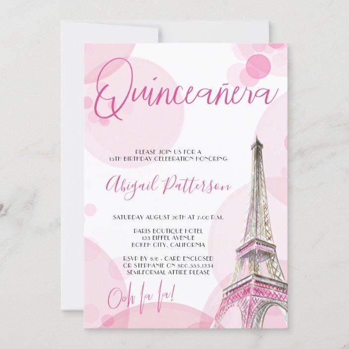 elegant quinceanera pink white paris birthday invitation zazzle com