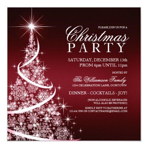 Elegant Red Christmas Party Invitation