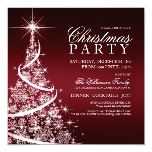 Elegant Red Christmas Party Invitation