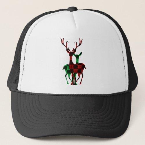 Elegant Red & Green Buffalo Plaid Reindeer Couple Trucker Hat