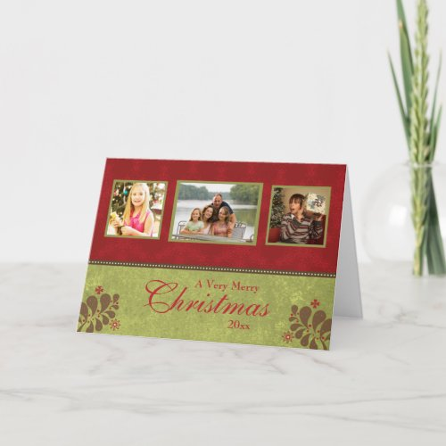 Elegant red green custom 3 photo christmas card card
