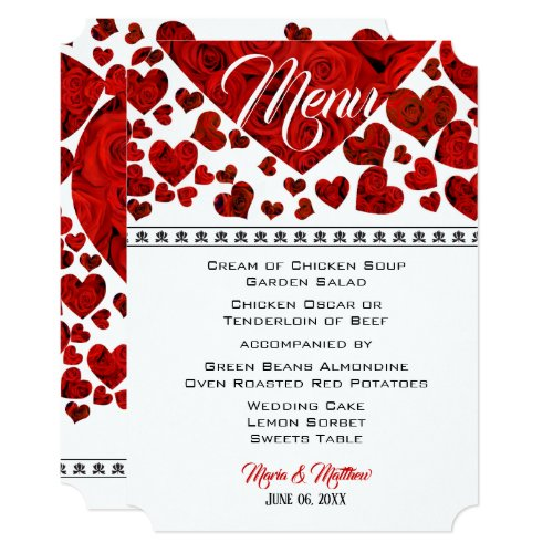 Elegant Red Hearts and Roses Wedding Menu Invitation