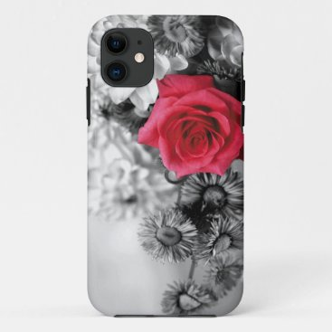 Elegant Red Rose with Black & White background iPhone 11 Case