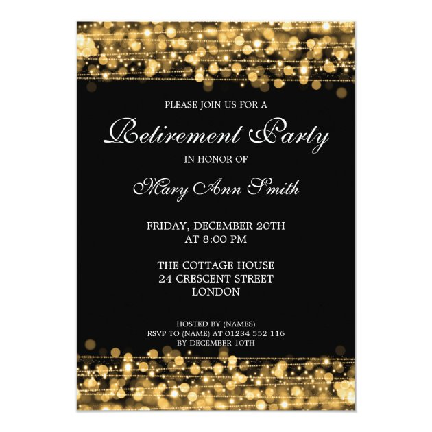 Elegant Retirement Party Gold Sparkles Card