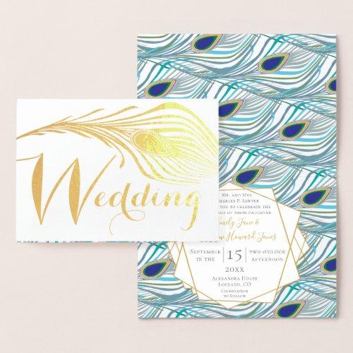 Elegant Roaring 20s Gatsby Boho Peacock Wedding Foil Card