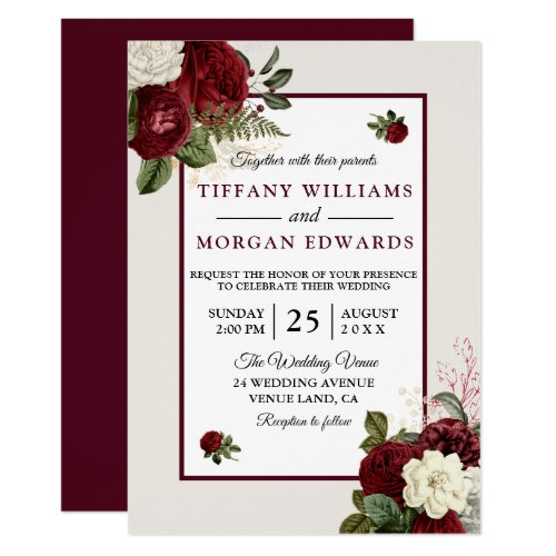 Elegant Romantic Burgundy Floral Wedding Invite