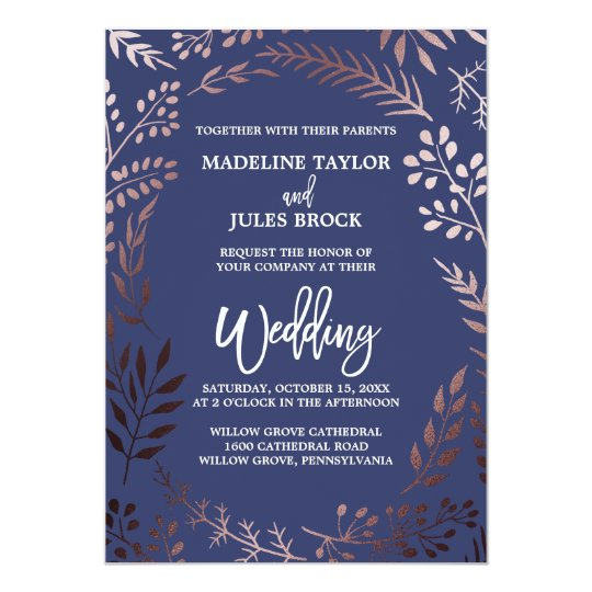 Wedding Invitation Rose Gold Glit Fab