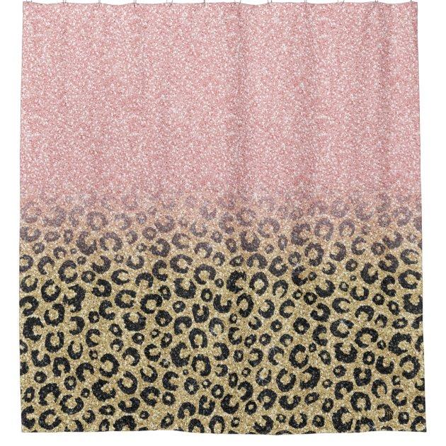 elegant rose gold glitter black leopard print shower curtain zazzle com