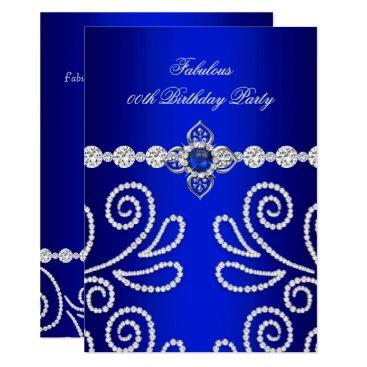 Elegant Royal Blue Diamond Pearl Birthday Party 2 Card