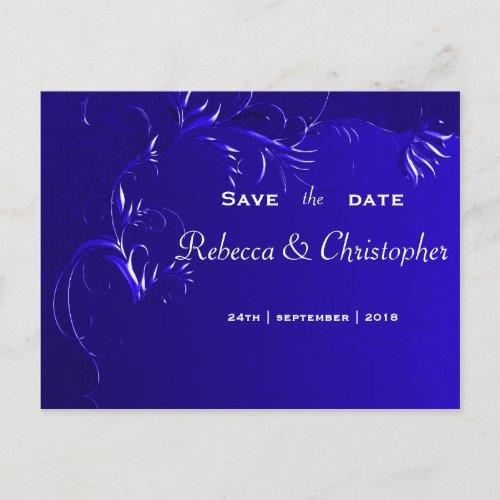 Elegant Royal Blue Save the Date Announcement Postcard