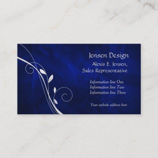Elegant Royal Blue Silver Leaf Swirl Business Card