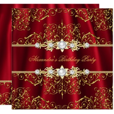 Elegant Royal Red & Gold Damask Birthday Party Card