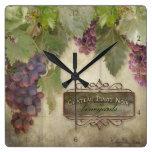 Elegant Rustic Vineyard Winery Fall Autumn Wine Square Wallclocks