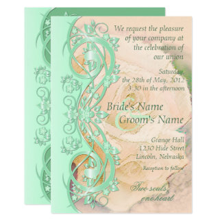 Elegant Scroll Wedding Invitation Mint Green Peach Card