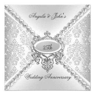 Elegant Silver 25th Wedding Anniversary Damask 5.25x5.25 Square Paper Invitation Card