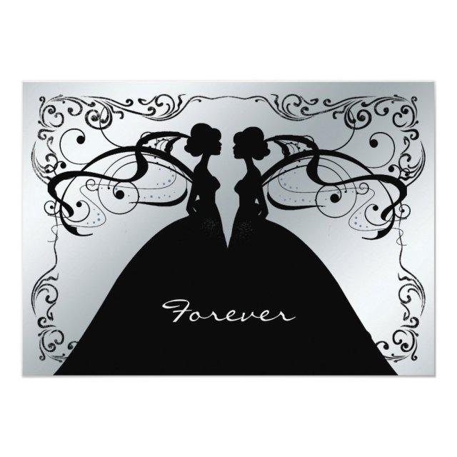 Elegant Silver and Black Gay Lesbian Wedding Invit