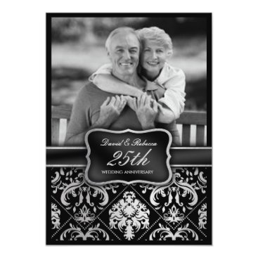 Elegant Silver Damask 25th Wedding Anniversary Invitation