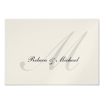Elegant Silver Monogram Wedding RSVP Card