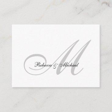 Elegant Silver Monogram Wedding RSVP Card I