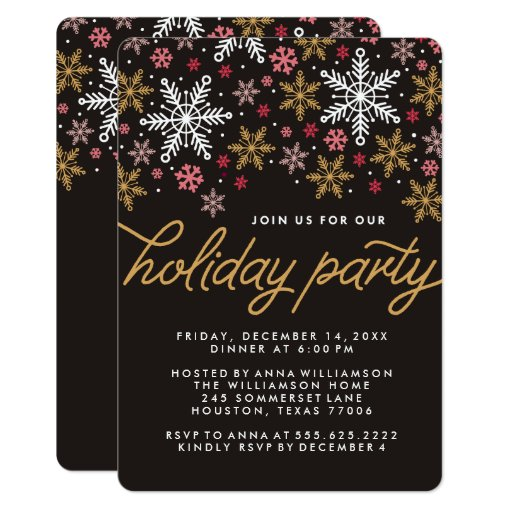Elegant Snowflakes Holiday Party Invitation