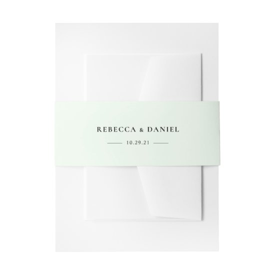 Elegant Solid Green Personalized Wedding Invitation Belly Band