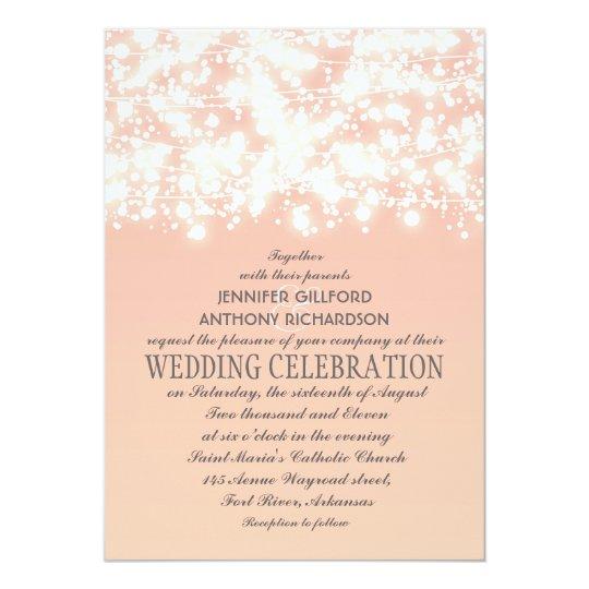 Elegant String Lights Peach Wedding Invitations