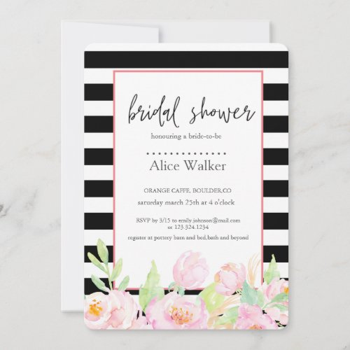 Elegant Striped Floral | Bridal Shower Card