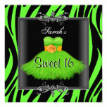 Elegant Sweet 16 Birthday Lime Zebra Black Dress Invitation