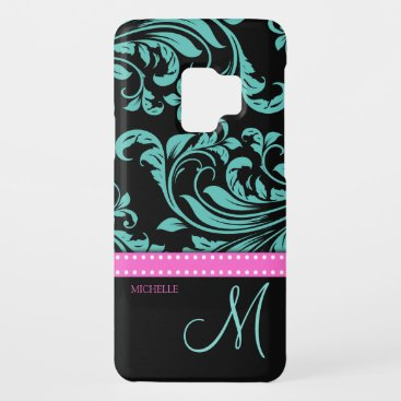 Elegant Teal & Black Damask Pattern with Monogram Case-Mate Samsung Galaxy S9 Case