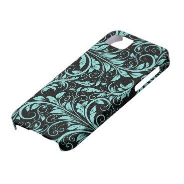 Elegant teal blue and black damask floral pattern iPhone SE/5/5s case