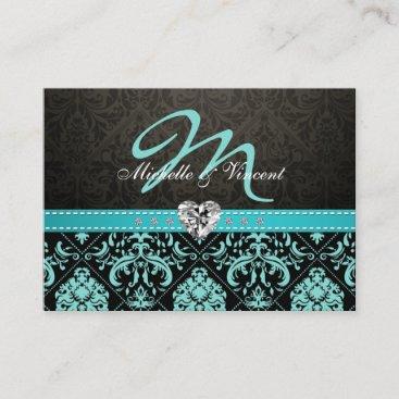 Elegant Teal Blue and Black Damask Monogram RSVP Enclosure Card