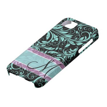 Elegant teal blue and black damask with monogram iPhone SE/5/5s case