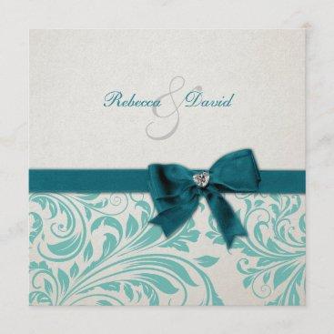 Elegant Teal Blue and White Damask Wedding Invitation