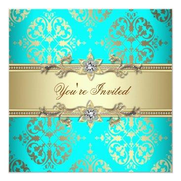 Elegant Teal Gold Damask Party Card
