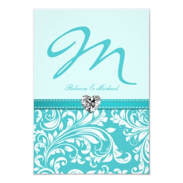 Elegant Teal Monogram Wedding RSVP Cards