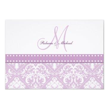 Elegant Thistle Purple & White Vintage Damask RSVP Card