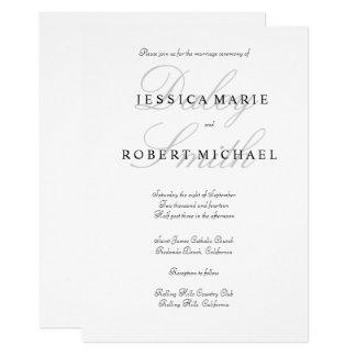 Elegant Typography Black White Wedding Card
