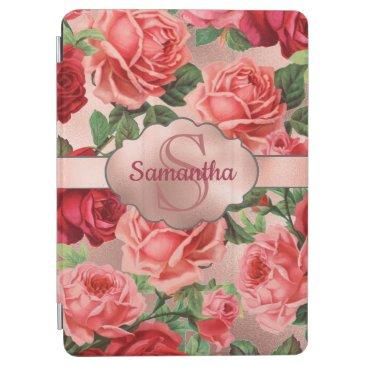 Elegant Vintage Pink Red Roses Floral Monogrammed iPad Air Cover