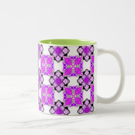 Elegant Violet Teal Snowflake Diamonds Two-Tone Coffee Mug