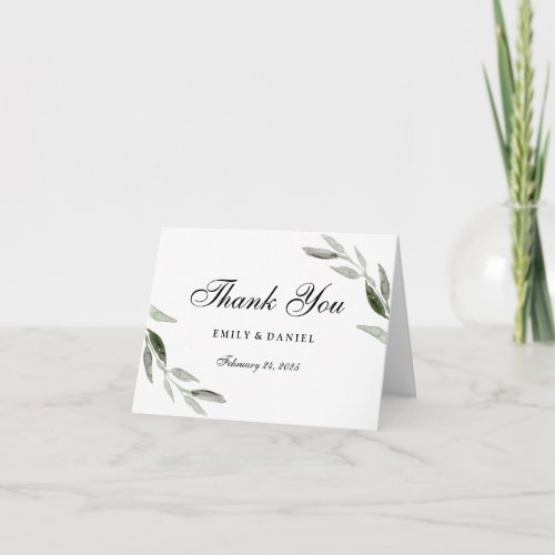 Elegant Watercolor Green Leaf Thank You Card