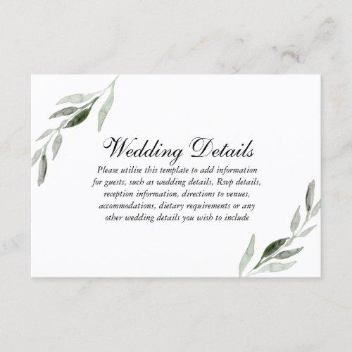 Elegant Watercolor Green Leaf Wedding Reception Enclosure Card