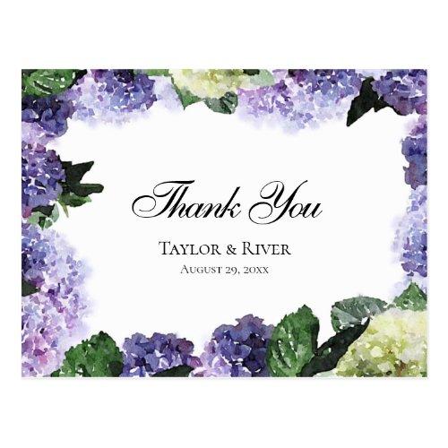 Elegant Watercolor Hydrangeas in Purple &amp&#x3B; Lavender Postcard