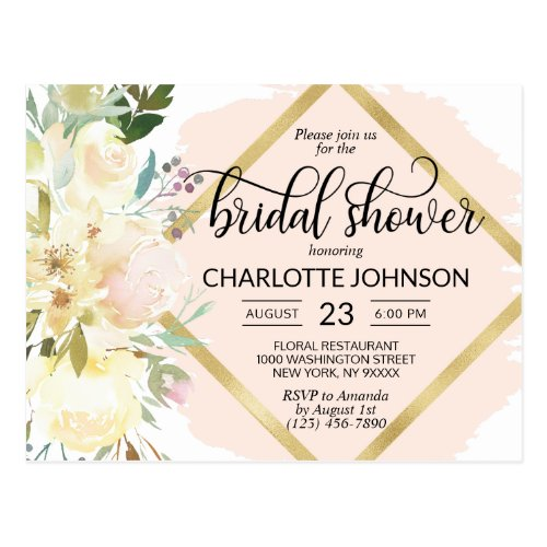 Elegant Watercolor Pink Floral Bridal Shower Postcard