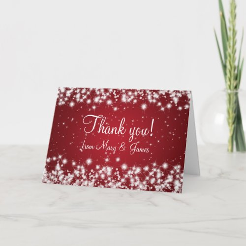Elegant Wedding Thank You Winter Sparkle Red