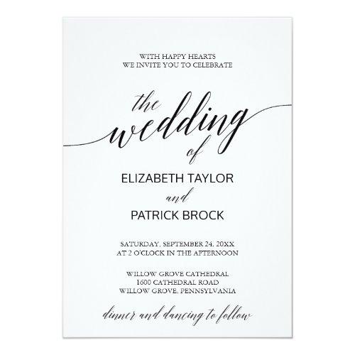 Elegant White and Black Calligraphy Wedding Invitation