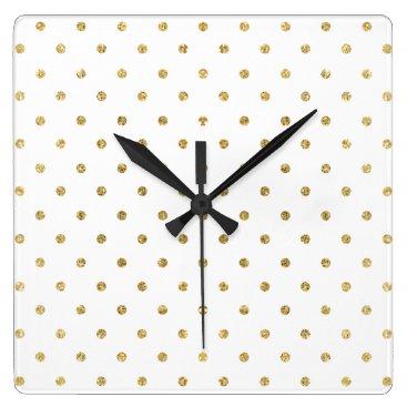 Elegant White and Gold Glitter Polka Dots Square Wall Clock