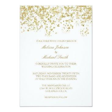 Elegant White and Gold Polka-dots Confetti Wedding Invitation