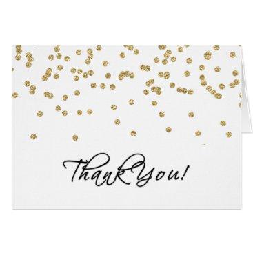 Elegant White and Gold Polka-Dots Thank You!