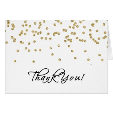 Elegant White and Gold Polka-Dots Thank You! Card
