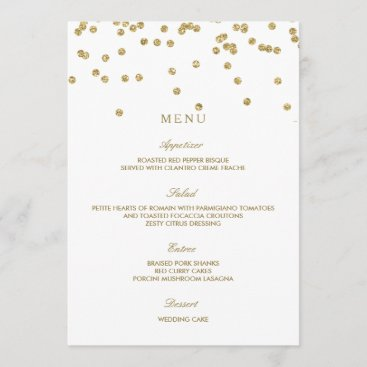 Elegant White and Gold Polka Dots Wedding Menu